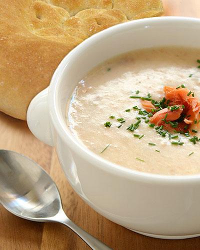 Кулинарные рецепты: лепешка с супом-пюре из семги